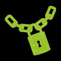 Padlock and chain_lime